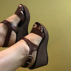 Brown J. Crew platform sandals in Italian leather.